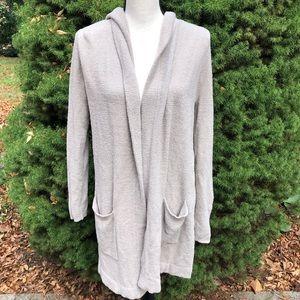 Barefoot dreams long hooded sweater tan medium